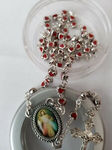 Divine Mercy Rosary Beads Red Enamel Filled Heart Shaped Beads