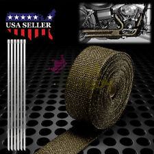 """Titanium Exhaust Pipe Insulation Thermal Heat Wrap 2"""" x 50' Motorcycle Header"""