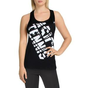 Asics Womens Black Graphic Practice Fitness Tank Top Athletic S  9948