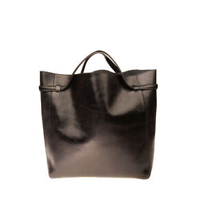 RRP €1750 JIL SANDER Leather Tote Bag Large Black Crumpled Effect Made in Italy
