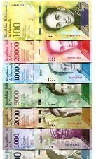VENEZUELA 500 1000 2000 5000 10000 20000 100000 BOLIVARES 2016-2017 UNC SET OF 7