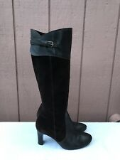 J.Crew Brown Suede and Leather Knee High Heel Fashion Boots Size US 6.5 ITALY