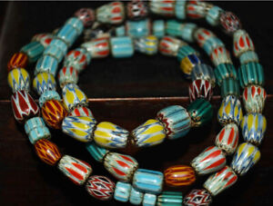 old venetian antique trade glass beads real african bracelet Chevron necklace 4