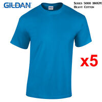 5 Packs Gildan Sapphire T-SHIRT Blank Plain Basic Tee S - 5XL Men Heavy Cotton