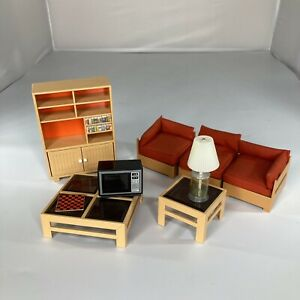 TOMY Toys Dollhouse Furniture Living Room Sectional Couch TV Tables Vintage Lot