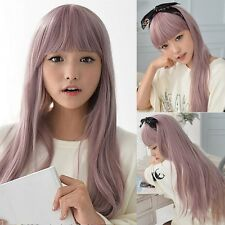 Glamour Taro Purple Womens Full Wig Long Straight Hair Cosplay Party Anime Wig