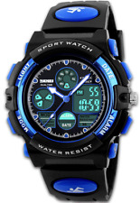 Men's Digital Sports Watch Army Analogue Watches Black Dual Time Display LED Bac