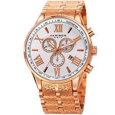 Men's Akribos XXIV AK960RG Chronograph Gold Nougat Textured Bracelet Swiss Watch