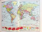World atlas c1935 128 pages coloured maps Air routes etc 295 pages in total VG