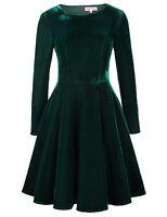 BP Retro Vintage Winter Long Sleeve Crew Neck Velvet Swing Dress