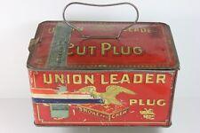 UNION LEADER Cut Plug Tobacco Tin Lunch Box w/ 1910 Tax Stanp - Rare RWB Ribbon