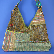 Boho Shoulder Tote Handbag Zippered Compartments Metallic Trims Wood Beads