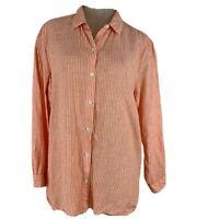 J Jill Love Linen woman's blouse top tunic Size large orange striped Lagonlook