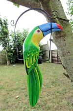 Fair Trade Hand Made Carved Wooden Toucan On Perch Swing Bird Ornament Mobile