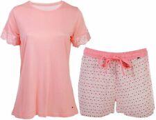 By Louise Damen Pyjama kurz Schlafanzug Nachtwäsche rosa weiß floral Spitze neu