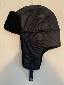 Ugg Black Aviator Hat with shearling sheepskin trim