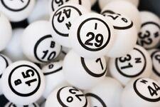 White Bingo Ball Set- Single Numbered Ping Pong Ball Size- 75 Ball Set