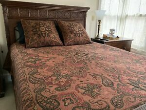 Belgian Tapestry Coverlet Set King or Queen Deep Wine Red