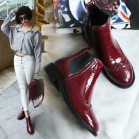Womens Brogue Formal Patent Leather Wing Tip Pull On Dress Ankle Boots Shoes