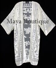 Ivory Long Kimono Jacket Burnout Velvet No Fringe Maya Matazaro