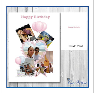 PERSONALISED PHOTO COLLAGE BIRTHDAY, ALL OCCASION, A5 CARD WITH ENVELOPE