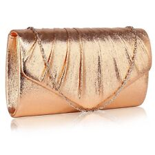 Women's Flap Large Clutch Evening Bag Prom Wedding Party Metallic Color Bags