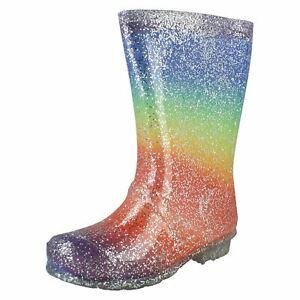 Spot On Girls Rainbow Glitter Wellingtons