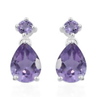925 Sterling Silver Pear Purple Amethyst Dangle Drop Earrings Jewelry