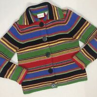 Liz Claiborne Medium M Thick Wool Sweater Big Button Cardigan Colorful Stripe
