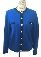 Doncaster Women's Top Size Medium Wool Blazer Blue Business Long Sleeve Buttons