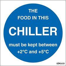 Pack of 6 Chiller Temperature Sticker Self-adhesive vinyl sign 10cm Food Storage