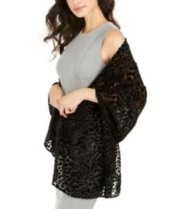 MSRP $68 Dkny Leopard-Print Velvet Burnout Wrap Black Size One Size