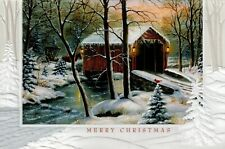 16 Embossed Boxed Christmas Cards Horse Crossing Covered Bridge