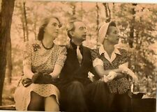 Old Antique Photograph Two Women and Man Wearing The Greatest Retro Outfits