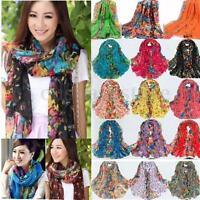Fashion Women Long Soft Flower Pattern Cotton Shawl Scarf Stole Neck Wrap HOT US