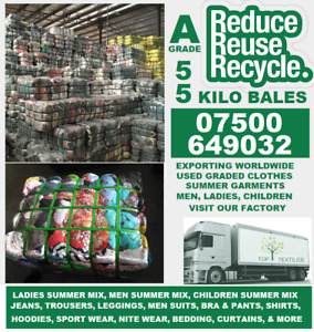 Top Textiles, 55 kilos of used graded clothes for export, Ladies, Men or Kids