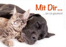 """A6 Postkarte, Tierpostkarte Hund und Katze kuscheln """"Mit Dir bin ich glücklich!"""""""