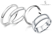 925 Sterling Silver D-Shape Wedding Ring Band: 2mm 3mm 4mm 5mm 6mm