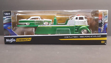 Maisto DesignTransport COE Flatbed With 1960 Ford Starliner, Green/White