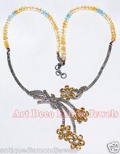 5.65ctw ROSE CUT DIAMOND GEMSTONE VICTORIAN LOOK 925 SILVER EARRING NECKLACE SET