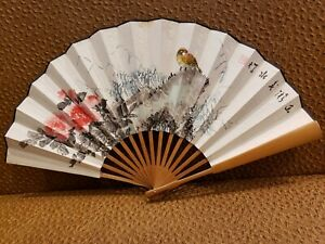 Chinese Old Paper Hand Painting Bamboo Hand Carving Folded Fan