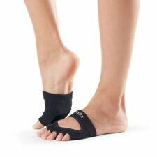 Toesox Yoga Women Dance Socks – Non Slip Grip Releve Half Toe Black Sz. M