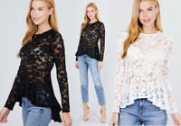 Women's Sheer Embroidered Lace Layer Long Sleeve Peplum Stretch Top Crew Neck