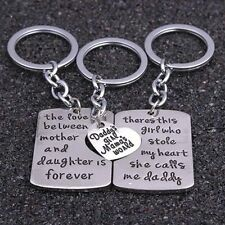 3 PIECE MOTHER FATHER DAUGHTER SET CHARM KEY RING DADDYS GIRL