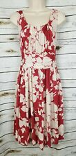 Talbots Red Floral Dress Ruched Church Garden Party NEW 12