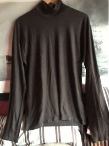 Zegna Long Sleeve Turtleneck Brown Light Shirt Men Size L