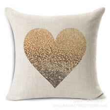 Love heart pillow/ cushion case linen cover gold colour 45x45cm