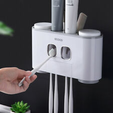 Toothpaste Dispenser Toothbrush Holder + 4 Cups Wall Mounted Bathroom Storage