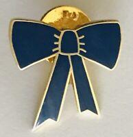 Blue Bow Ribbon Brooch Pin Badge Rare Vintage (N20)