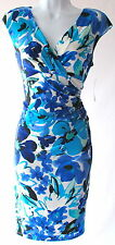 Ralph Lauren printed sheath cap sleeves stretch dress floral blue sz 8P